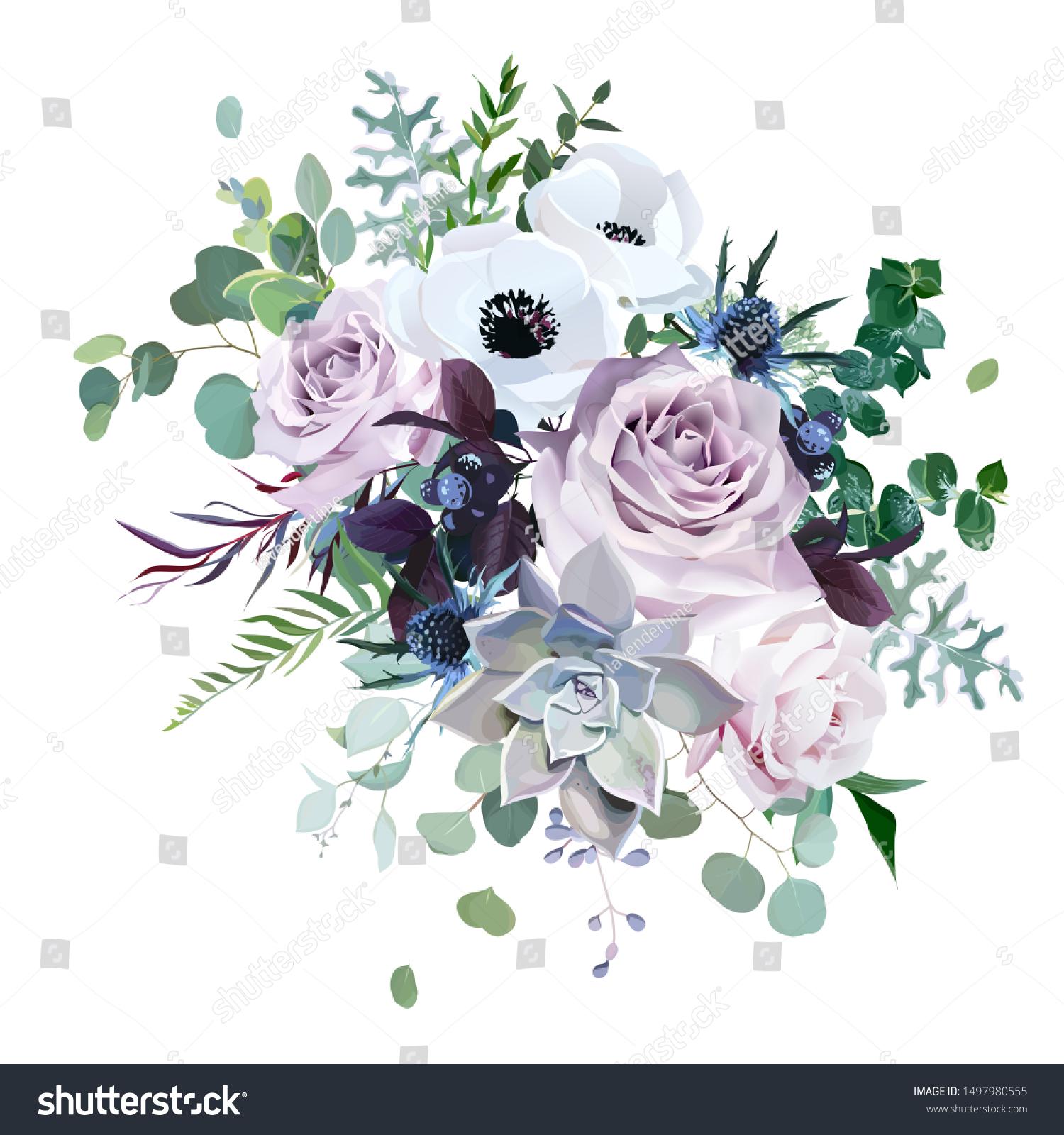 Dusty Violet Lavender Mauve Antique Rose Stock Vector Royalty Free 1497980555
