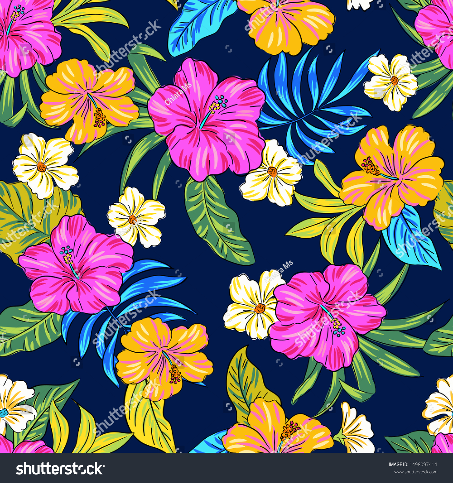 Hibiscus Floral Pattern Editable Vector Seamless Stock Vector
