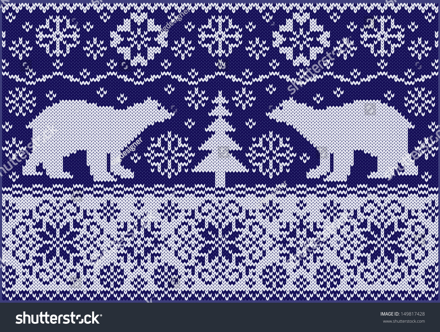 Fashionable Knitting Patterns : Knitted Ornament With Bears. Fashionable Northern Pattern. Knitted Style. Cre...