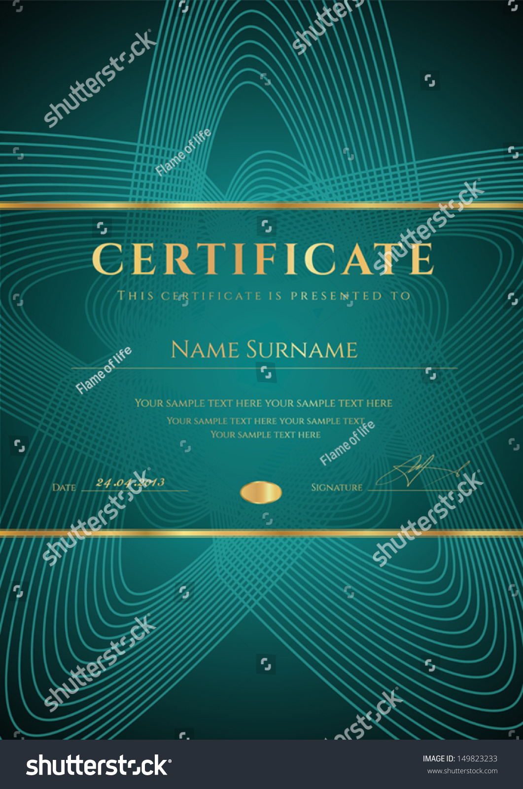 Dark green certificate diploma completion design stock vector dark green certificate diploma of completion design template background with star shape yadclub Gallery