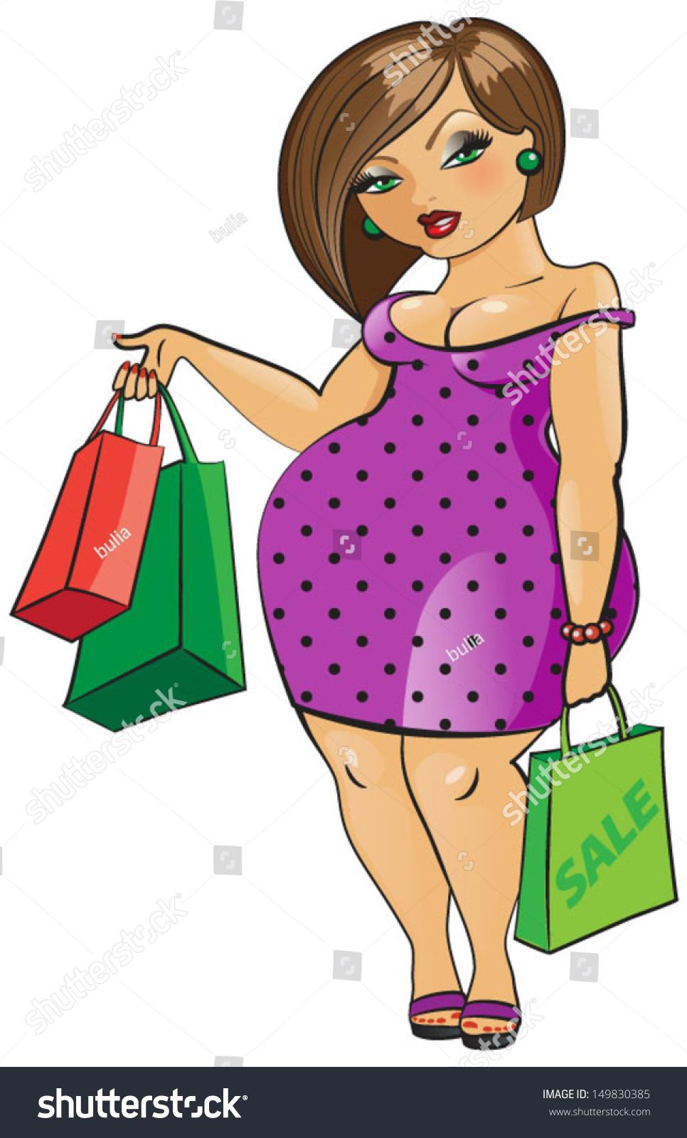 Beautiful Woman Shopping Bags Vector Stock Vector ...