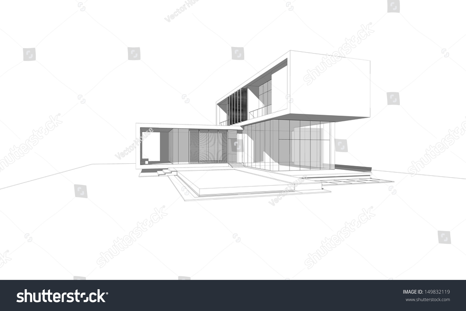 Simple modern house sketch modern house for Modern house sketch