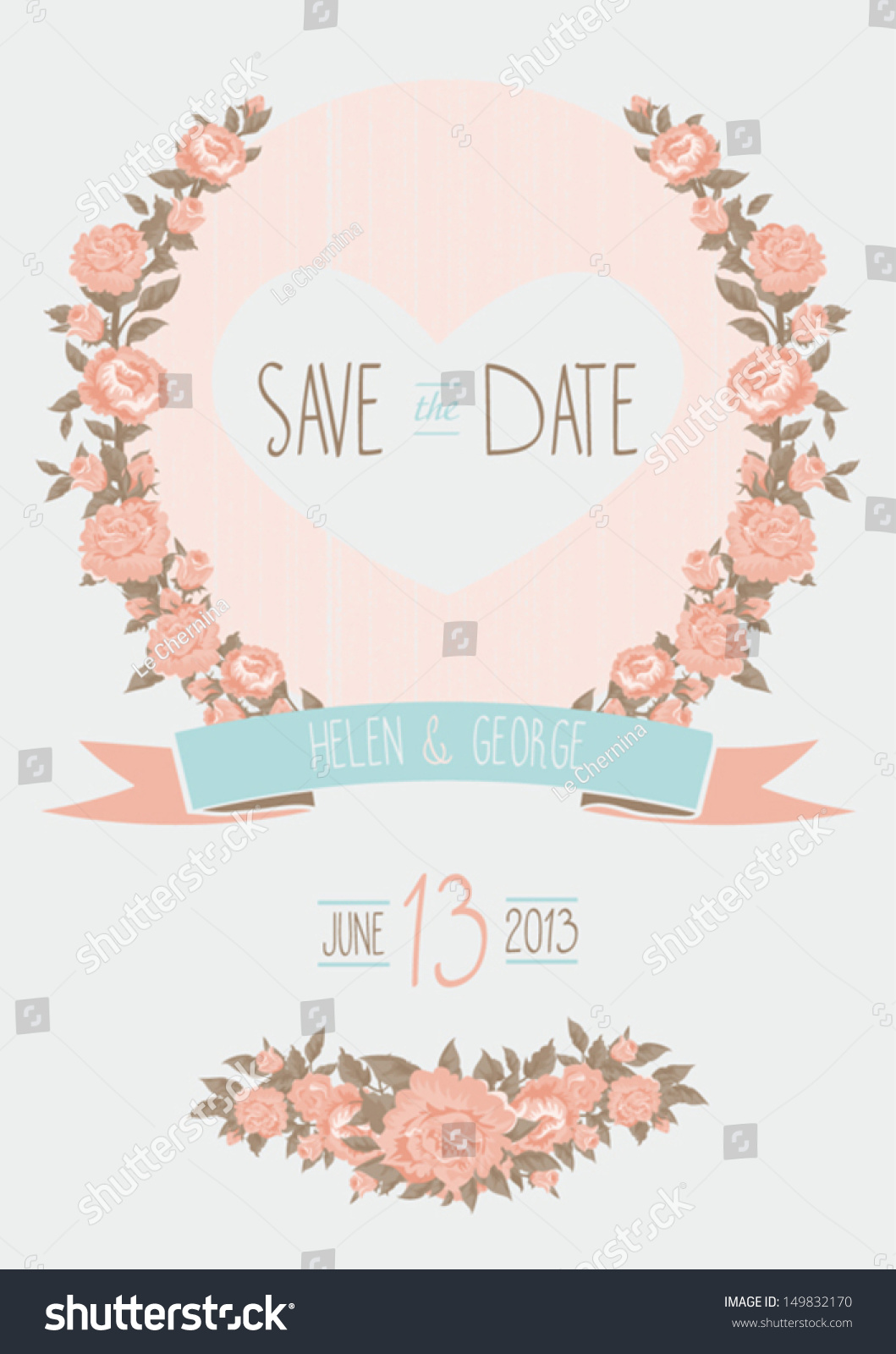 free vintage save the date templates - save date wedding invitation shabby chic stock vector