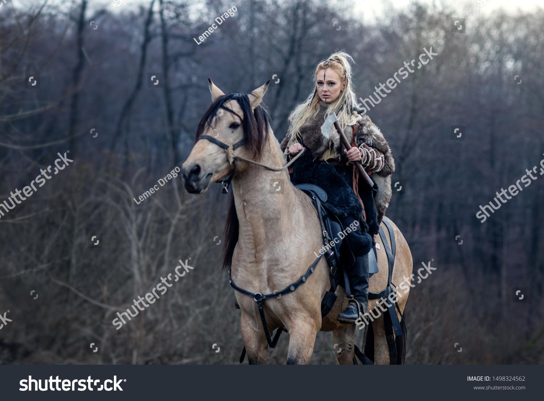 Warrior Viking Blonde Female Riding Horse Stock Photo Edit Now 1498324562
