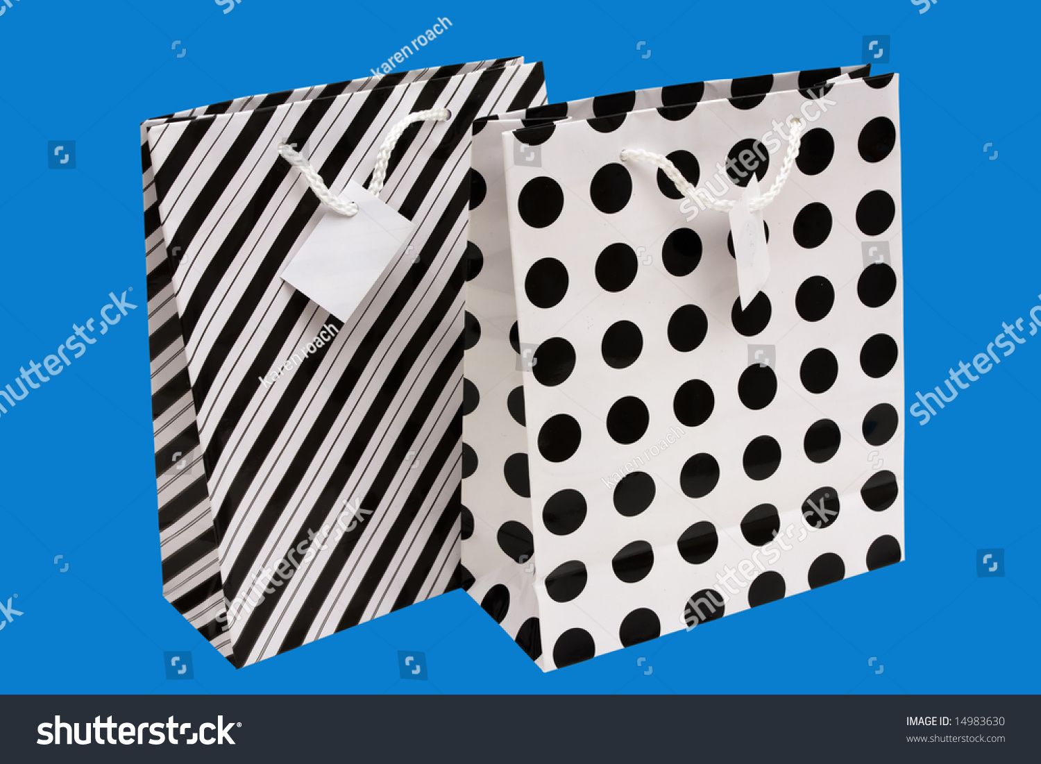 Black and white striped and polka dot paper gift bag stock for Striped and polka dot pumpkins
