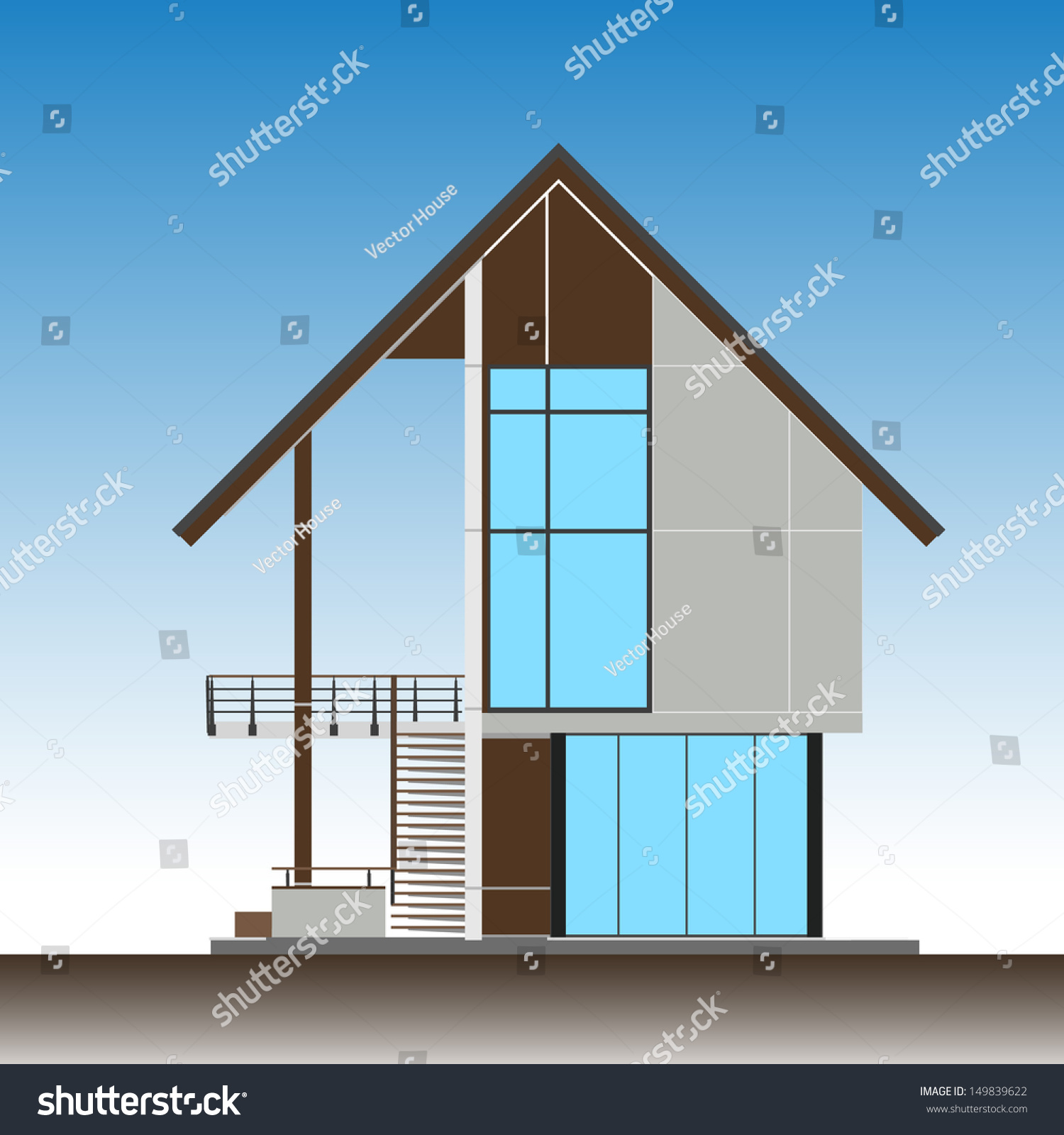 levation Of ropical Modern House - Vector Illustration ... - ^