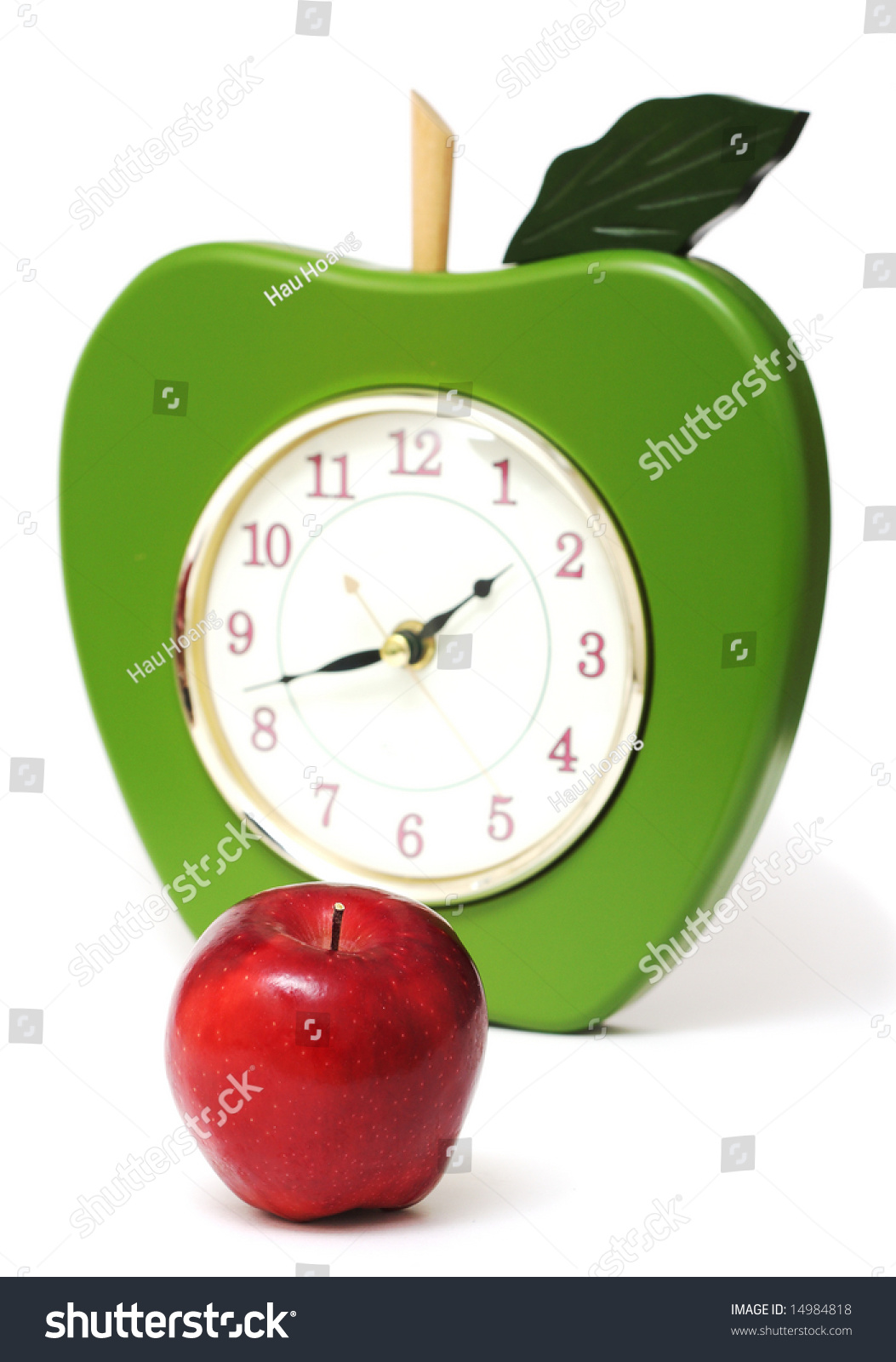 Apple Wall Clock White Background Stock Photo Edit Now 14984818