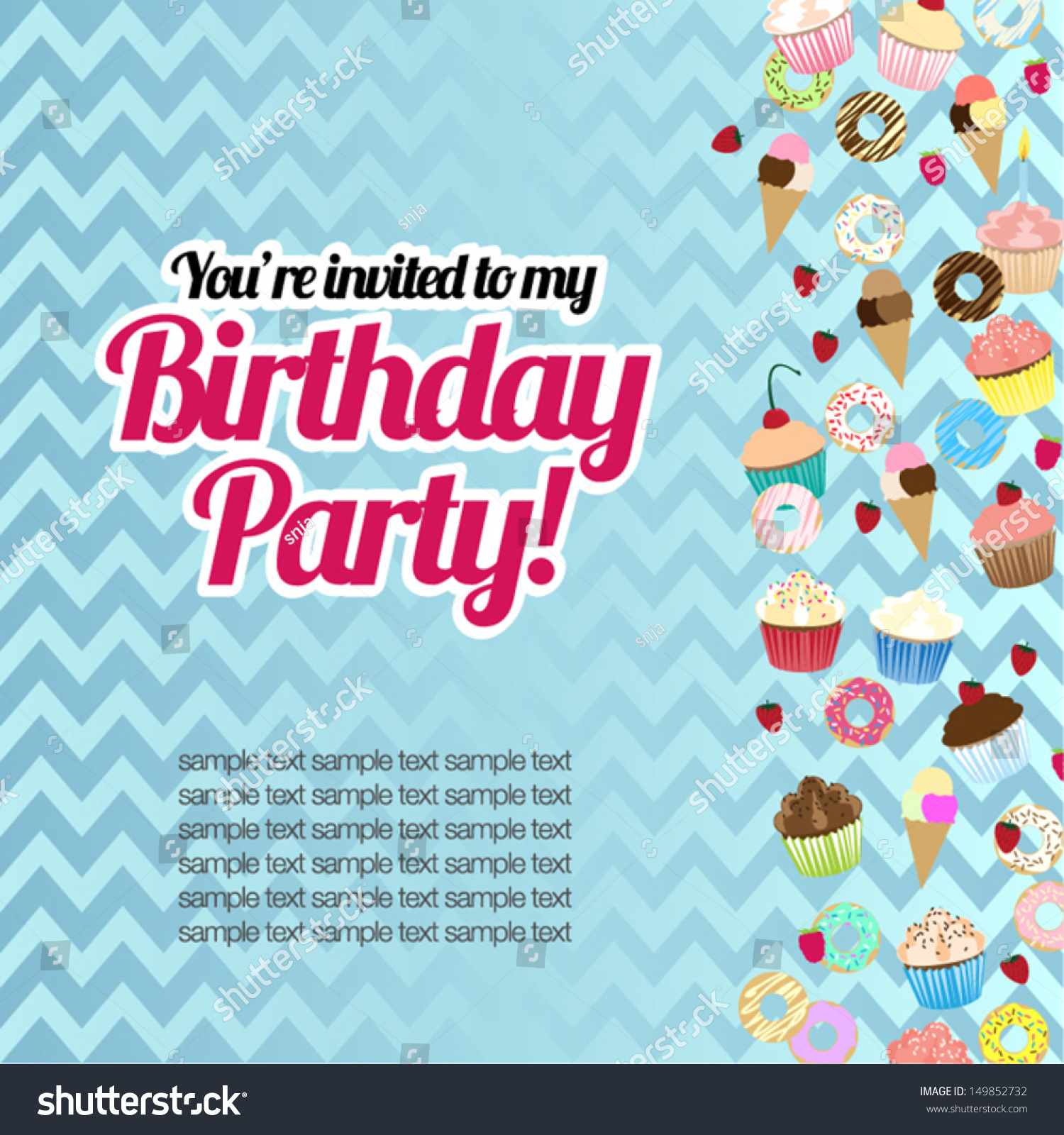 Candy Sweets Birthday Card Party Invitation Stock Vector 149852732 ...