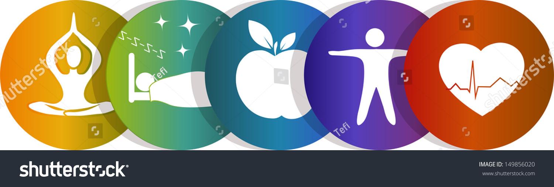 Health Symbols Healthy Heart Healthy Food Stock Illustration