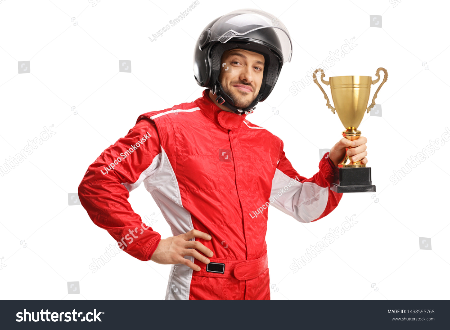 Racer with a helmet holding a gold trophy cup isolated on white background #1498595768