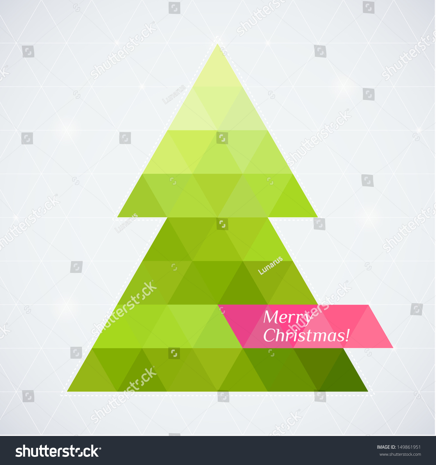 vector christmas tree triangle lights background stock vector