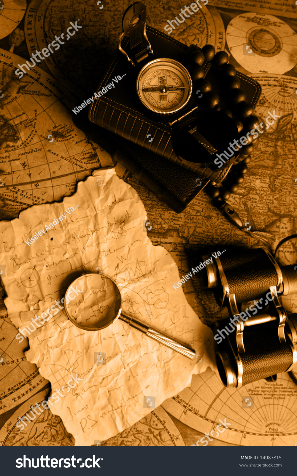 Old fashioned objects on the vintage map stock photo for Old objects