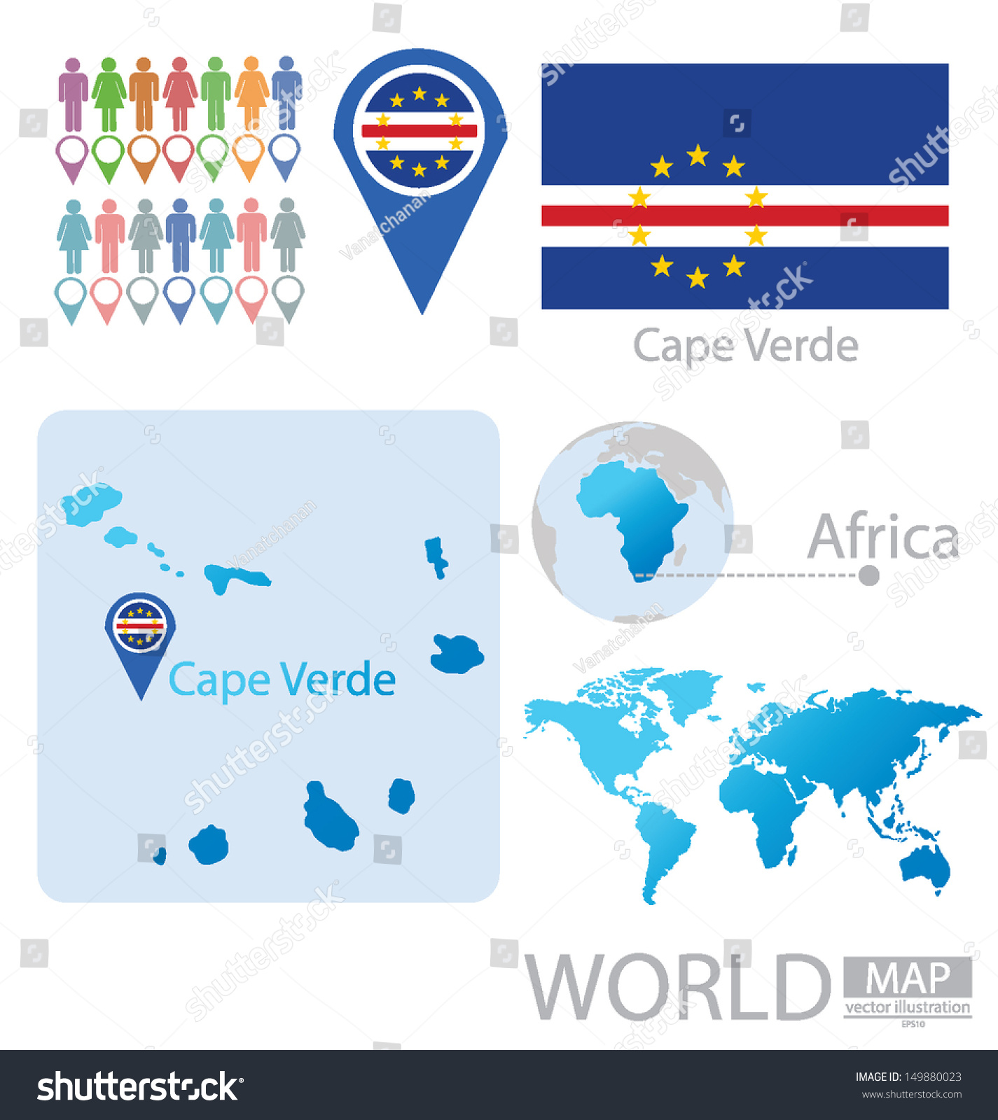 Cape Verde Flag World Map Vector Stock Vector Royalty Free