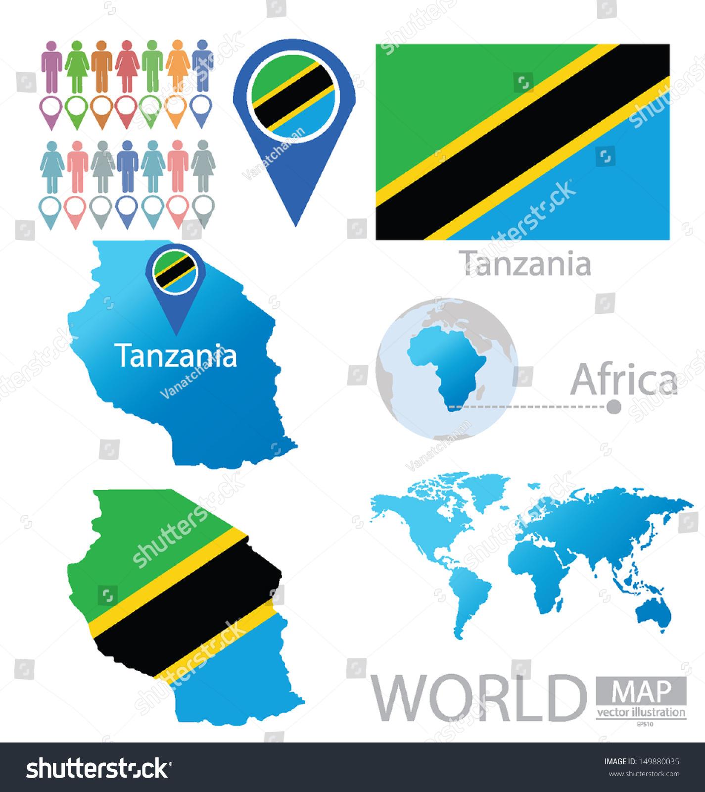 United republic tanzania flag world map vectores en stock 149880035 united republic of tanzania flag world map vector illustration gumiabroncs Choice Image