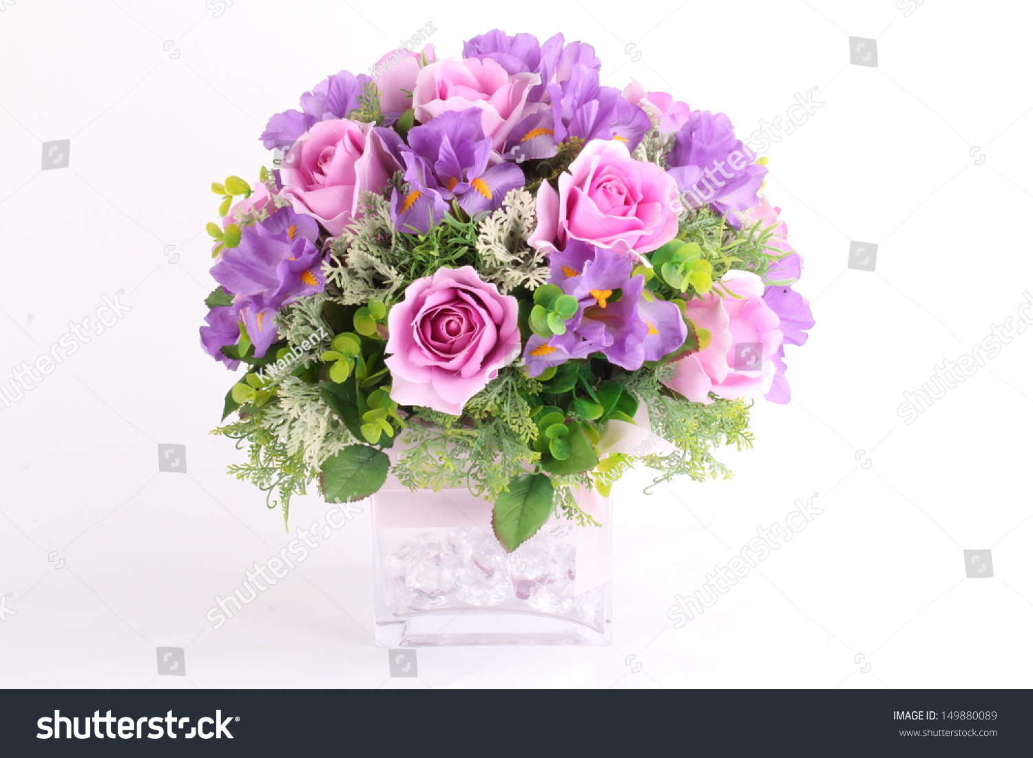 Colorful flower arrangement centerpiece square glass stock photo colorful flower arrangement centerpiece in square glass vase reviewsmspy