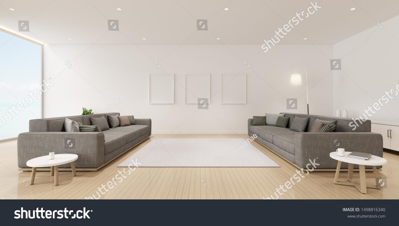 Perspective Modern Luxury Living Room Grey Stock