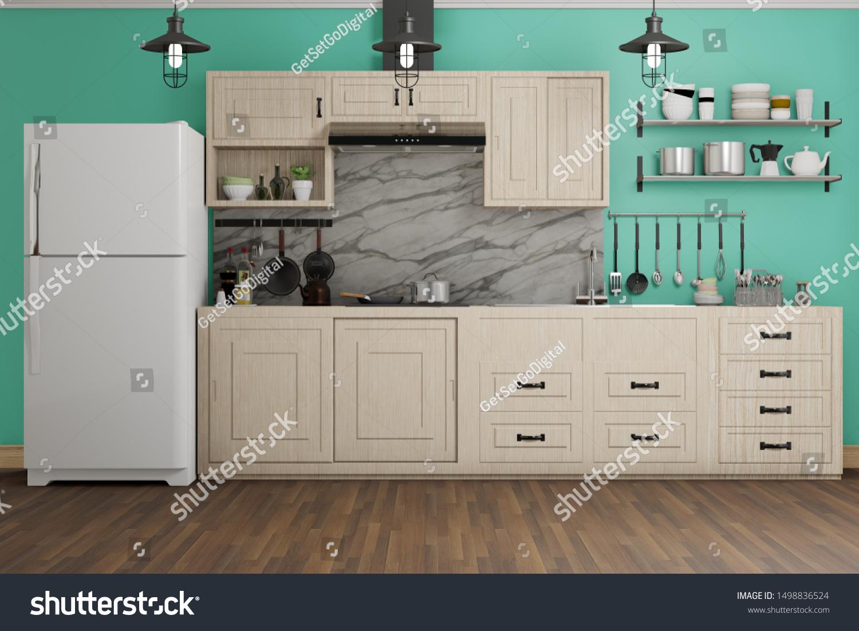 Ilustracion De Stock Sobre Modern Kitchen Room Green Marble Wall 1498836524