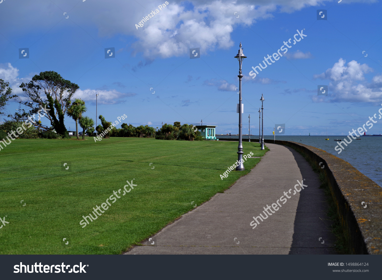 Clontarf Promenade Park on a sunny summer day in Dublin, Ireland.