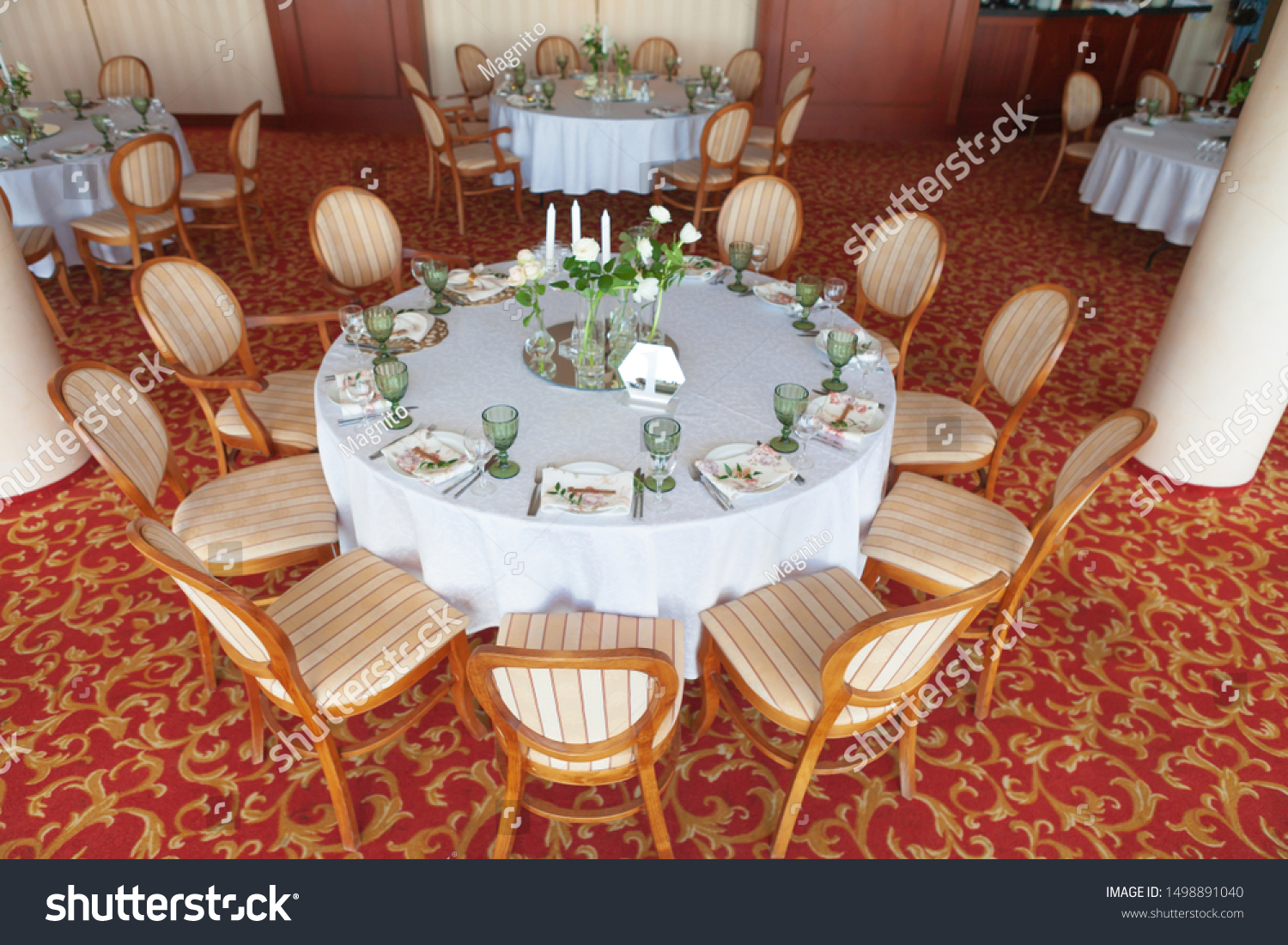 Round Dining Tables Covered White Cloth Stock Photo Edit Now 1498891040