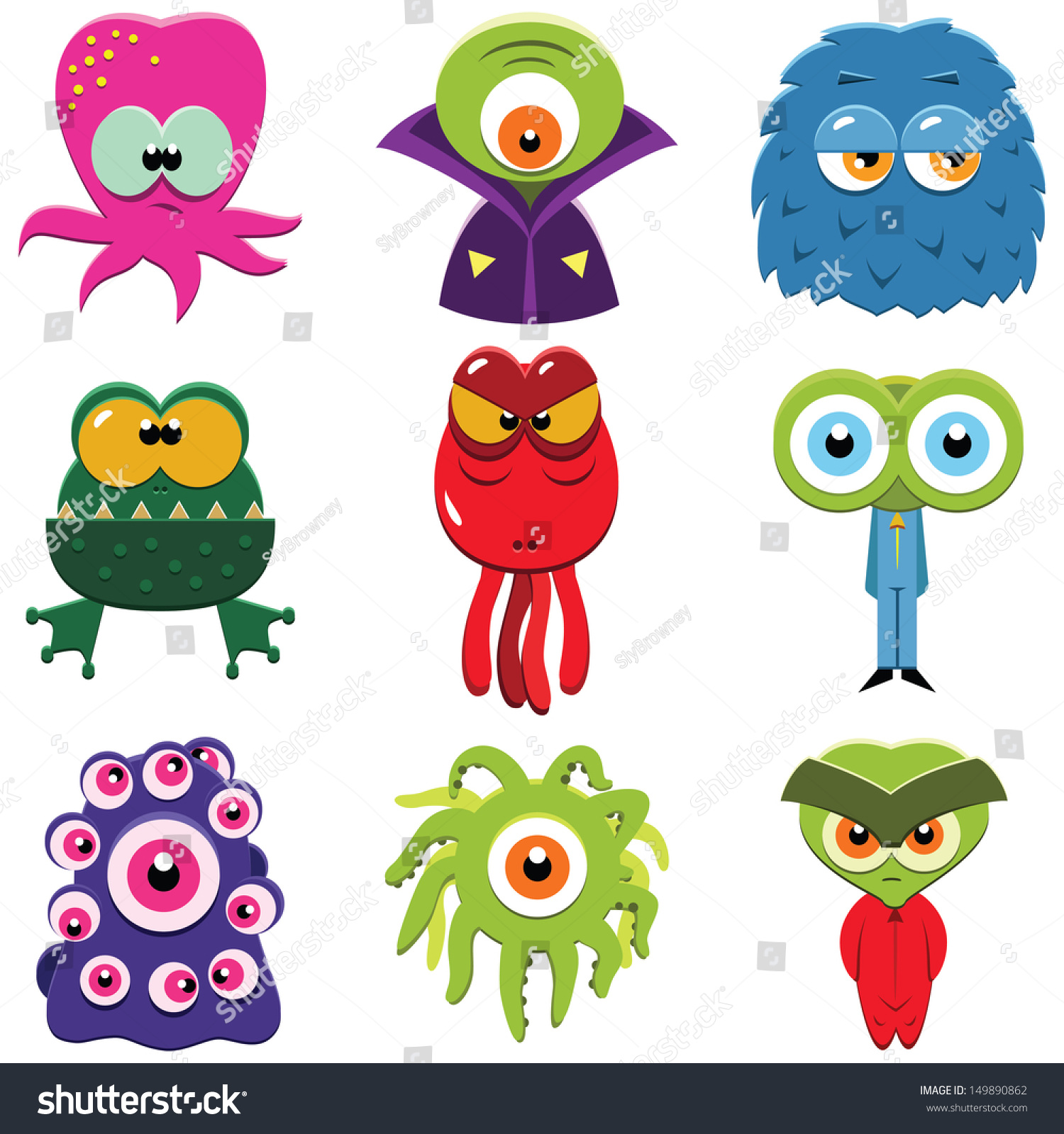 Set Funny Cartoon Monsters Isolated On Stock Vector 149890862 ...