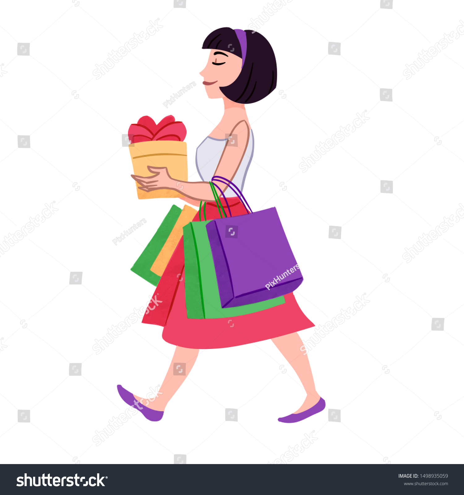 Hand Drawn Illustration Happy Woman Carrying Stock Illustration 1498935059