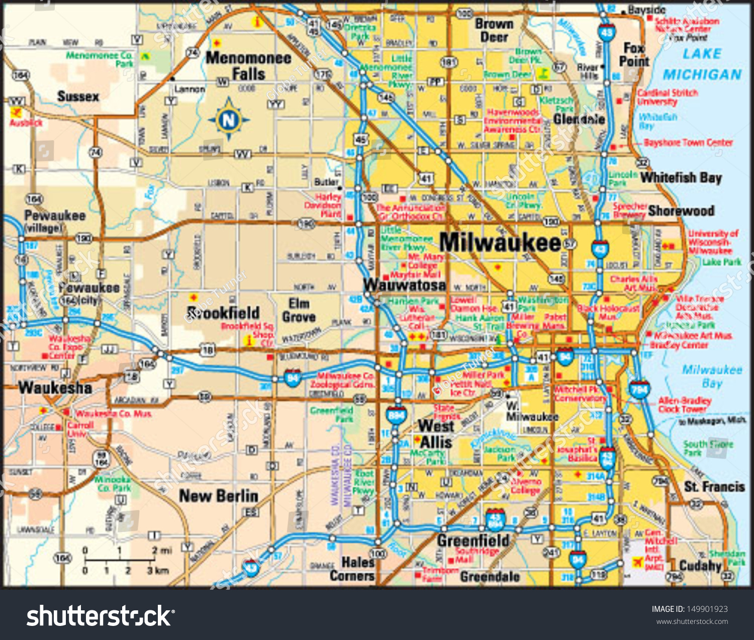 Milwaukee Wisconsin Area Map Stock Vector Royalty Free 149901923