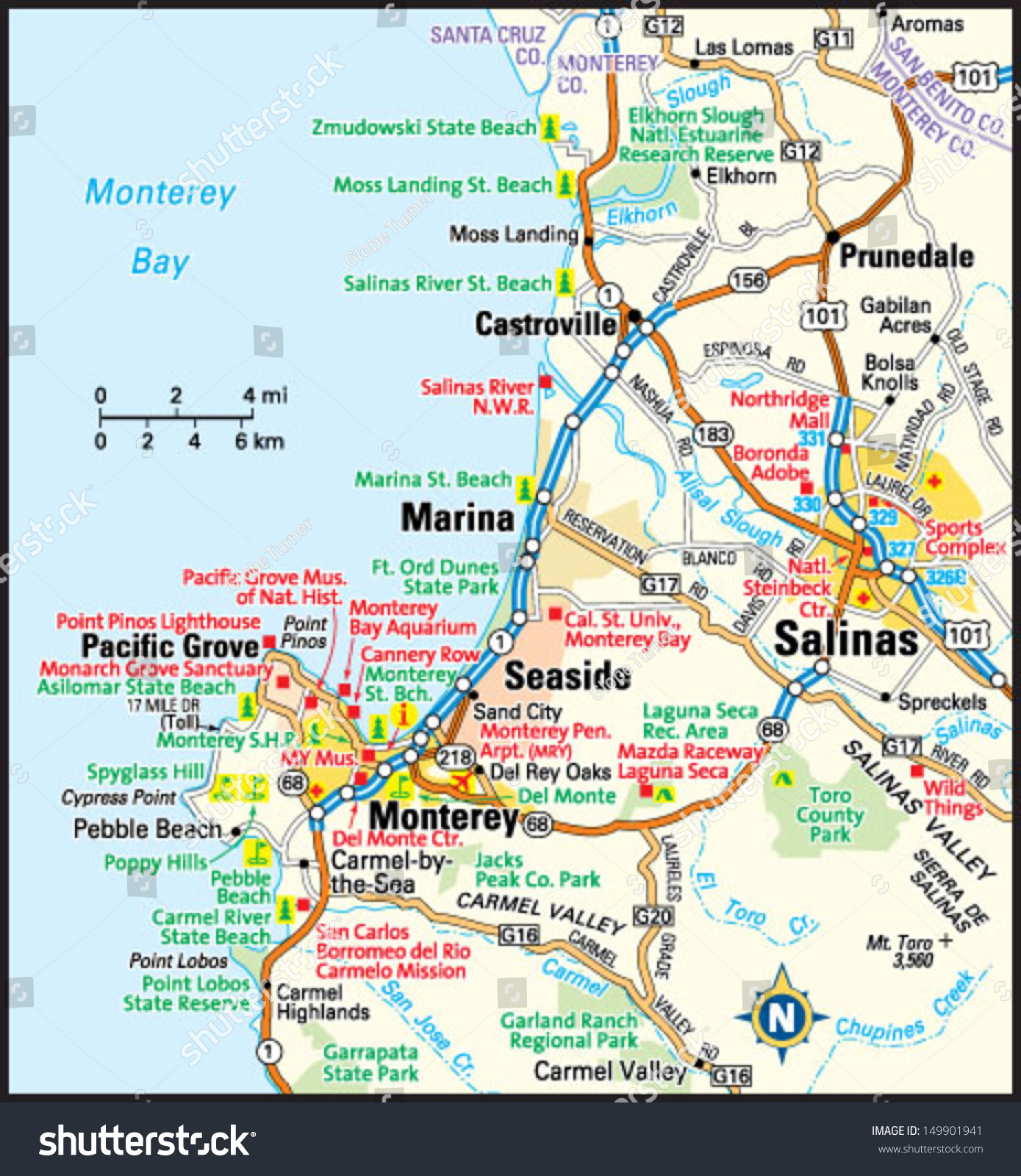 Map Of California Cities Monterey