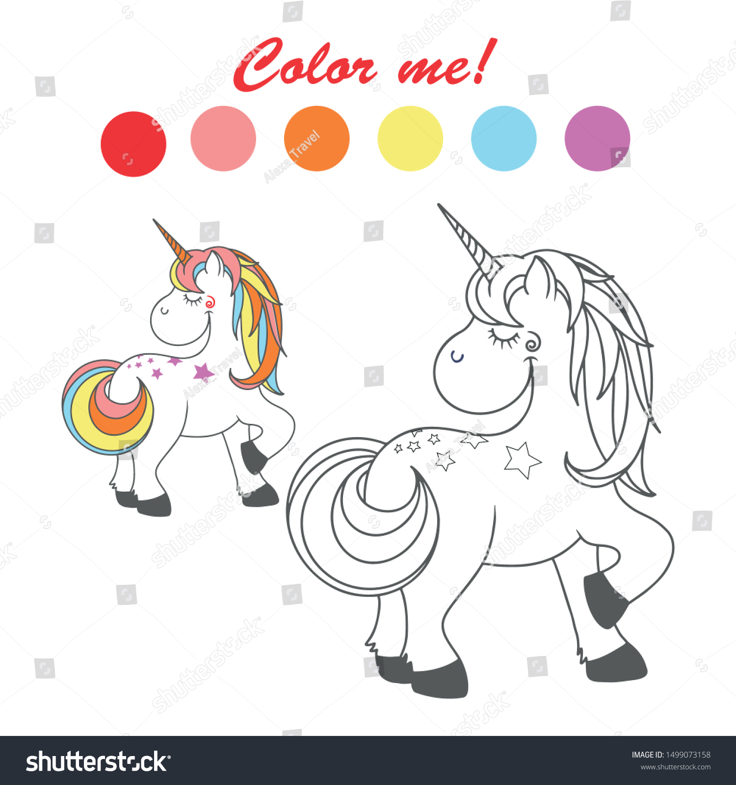 - Vector Outlined Funny Unicorn Coloring Book Stock Vector (Royalty