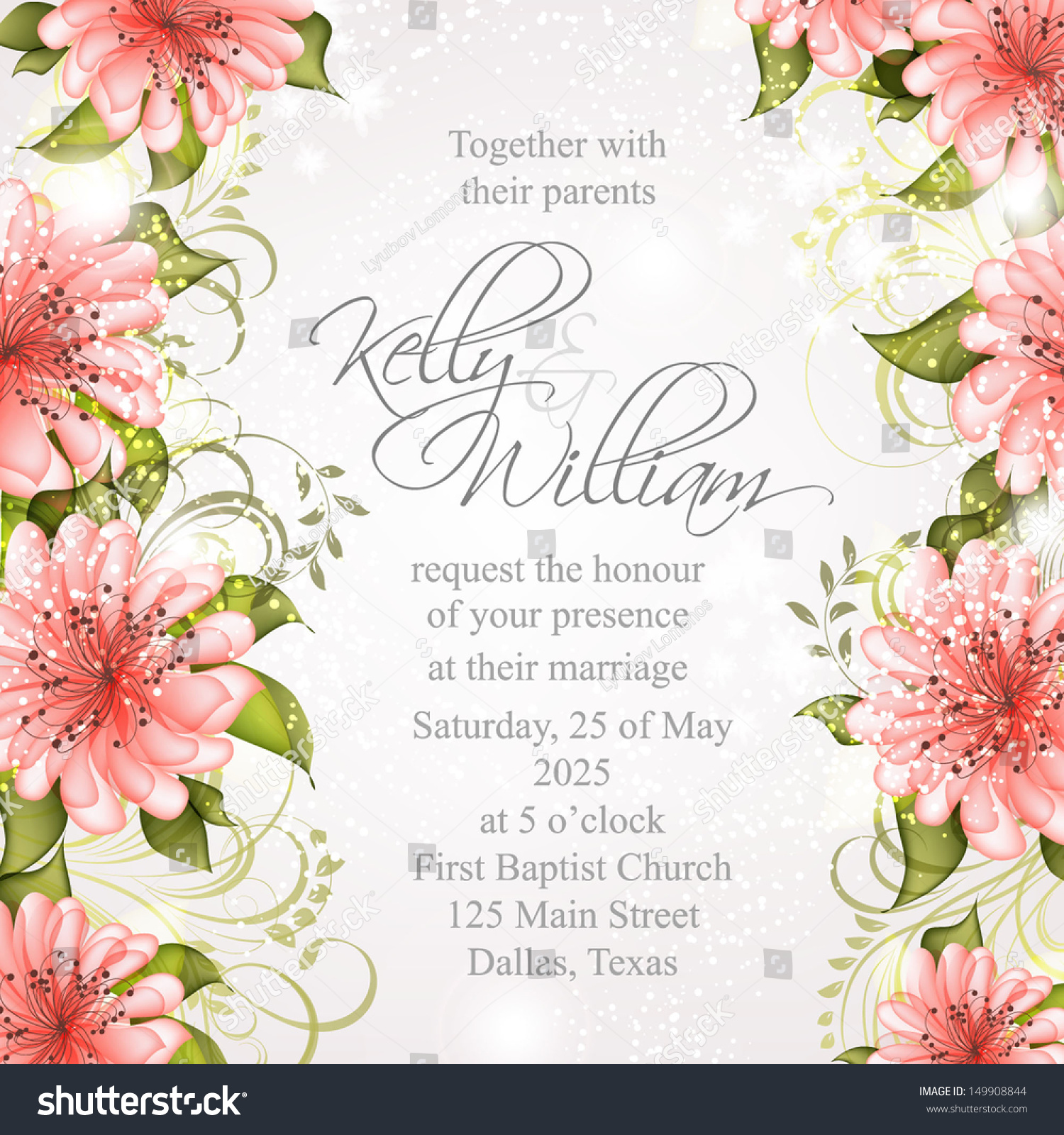 wedding invitation or card with abstract floral background bridal shower invitation card