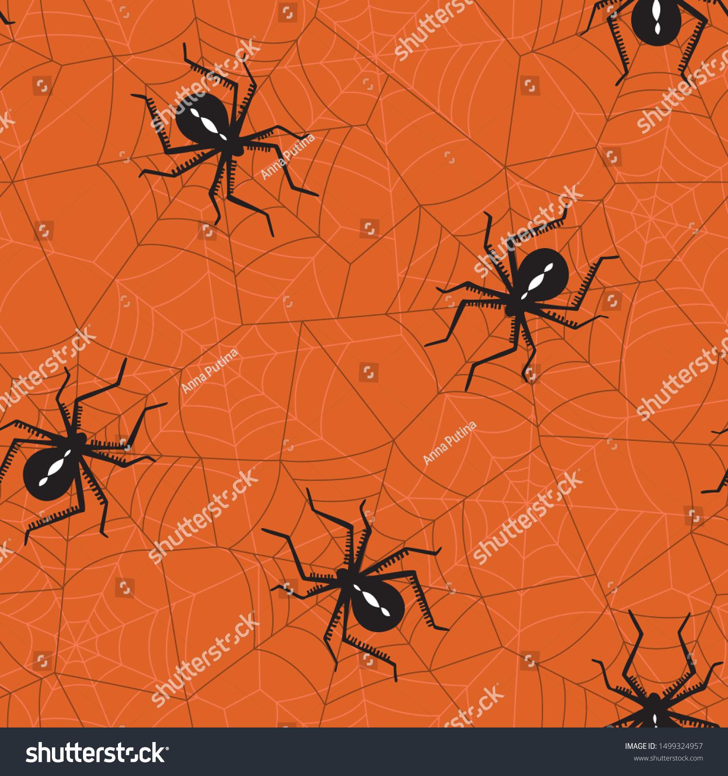 Halloween Vector Seamless Pattern Black Widow Stock Vector Royalty Free 1499324957