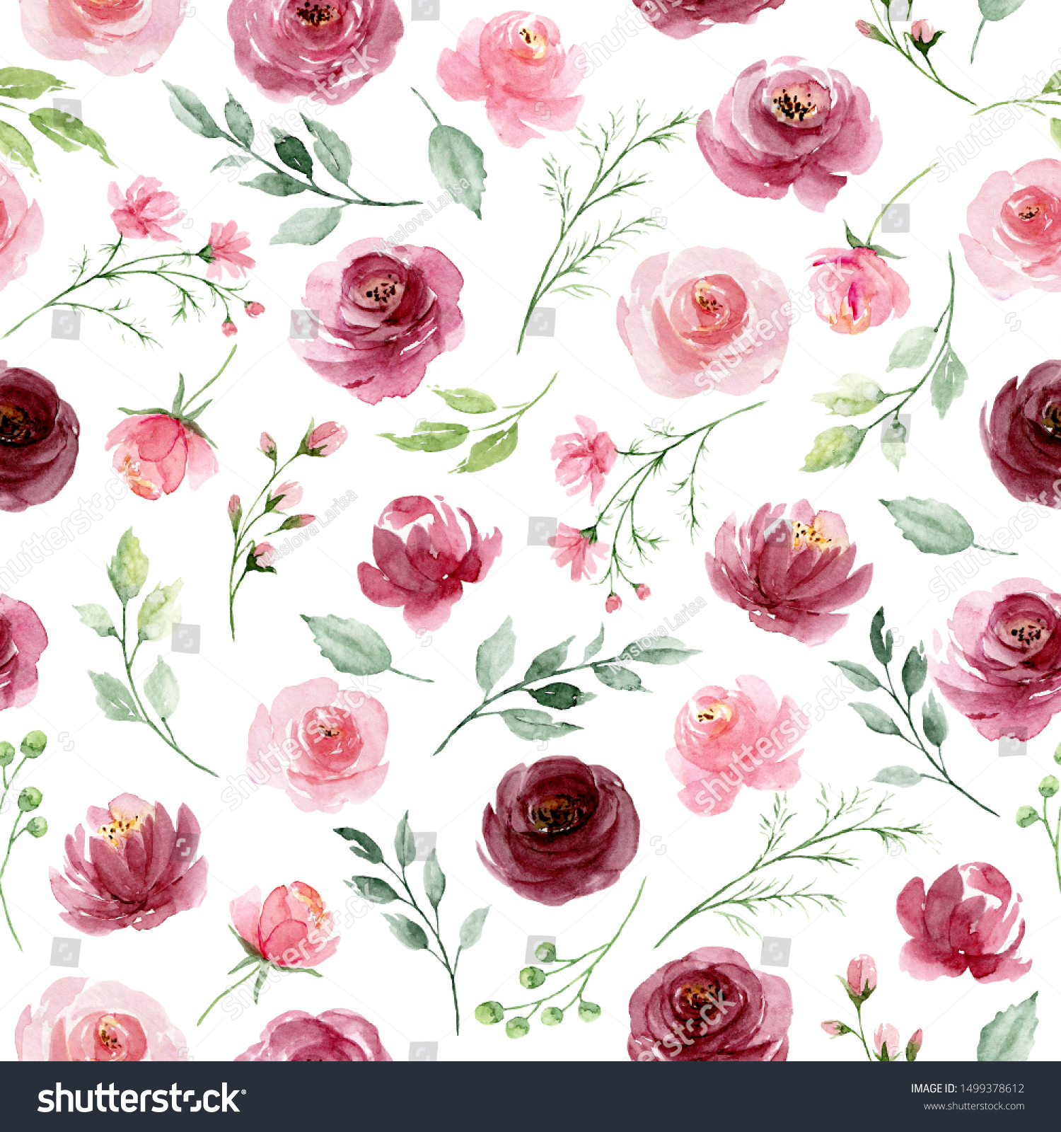 Seamless Background Floral Pattern Watercolor Flowers Stock