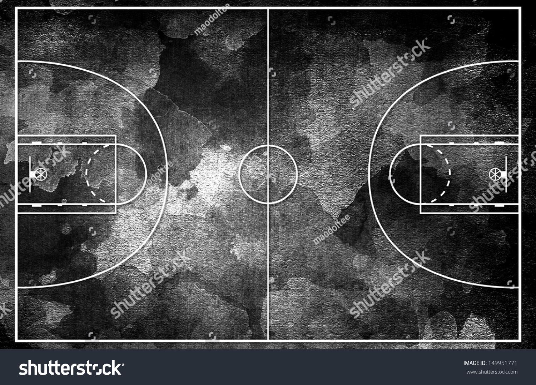 Grunge Black Basketball Court Stock Photo 149951771 ...