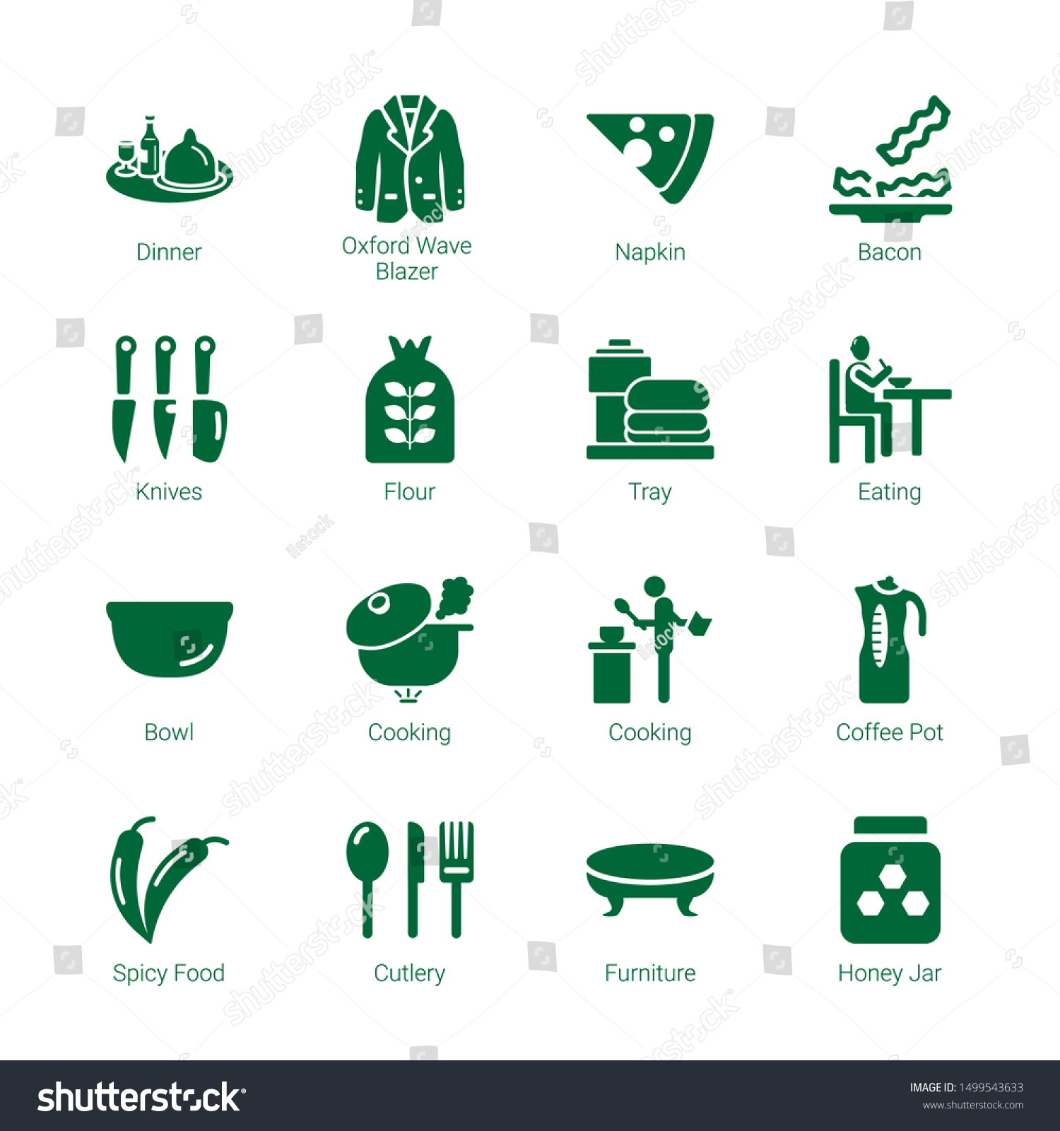 Kitchen Icons Editable 16 Kitchen Icons Stock Vector Royalty Free 1499543633