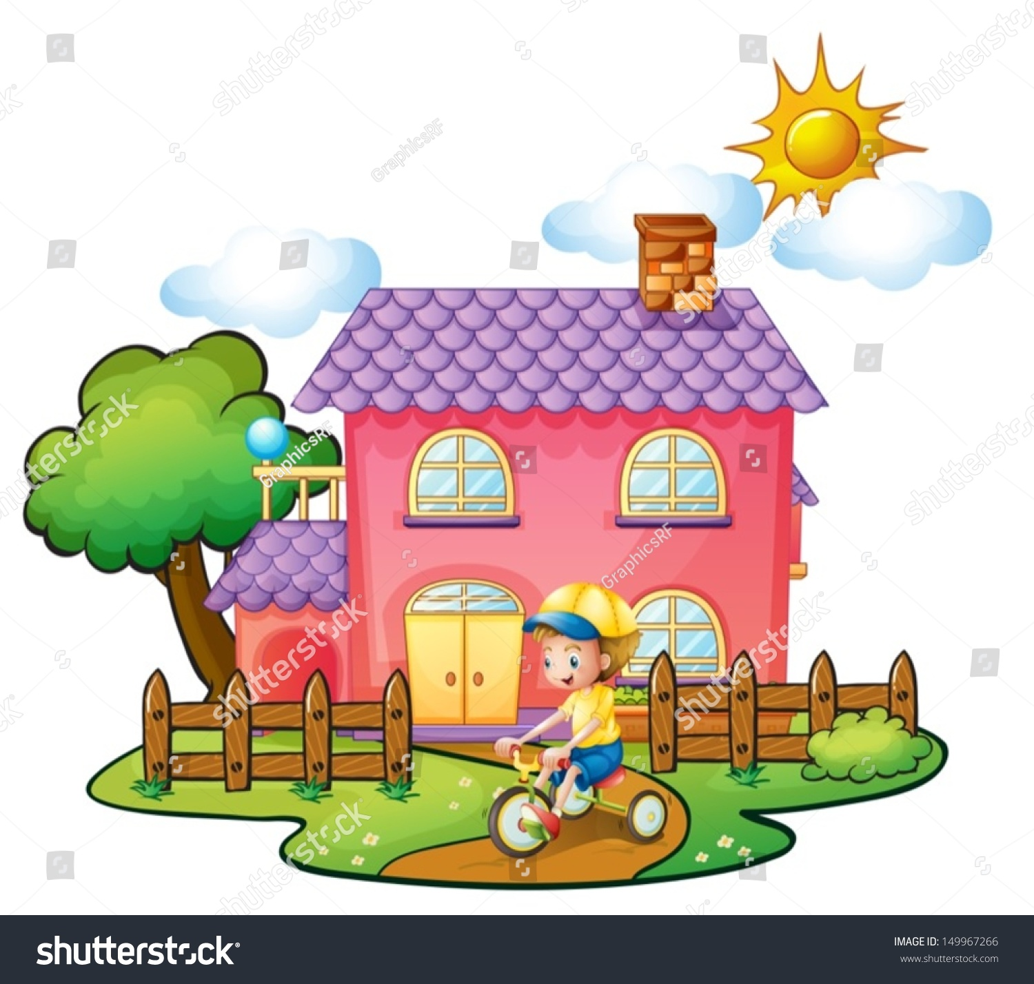 illustration of a little boy playing in front of their house on a