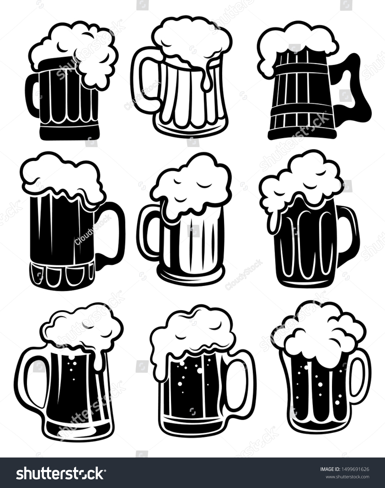 Set Glasses Beer Collection Stylized Beer Stock Vector Royalty Free 1499691626