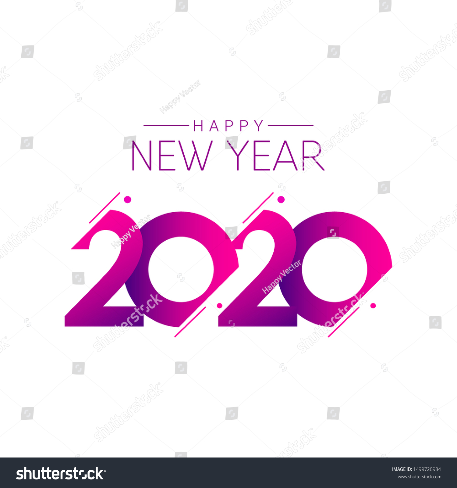 Happy New Year 2020 Vector Template Stock Vector Royalty Free 1499720984
