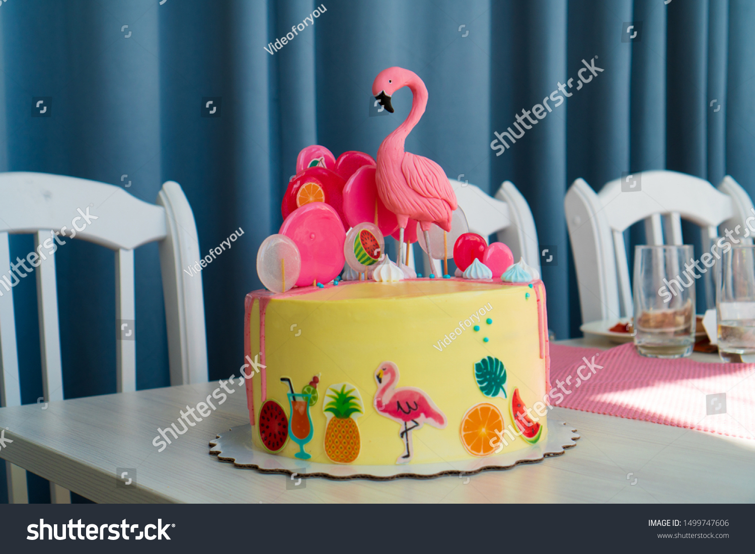 Super Flamingo Cake Hawaiian Party Childrens Birthday Stock Photo Edit Personalised Birthday Cards Cominlily Jamesorg