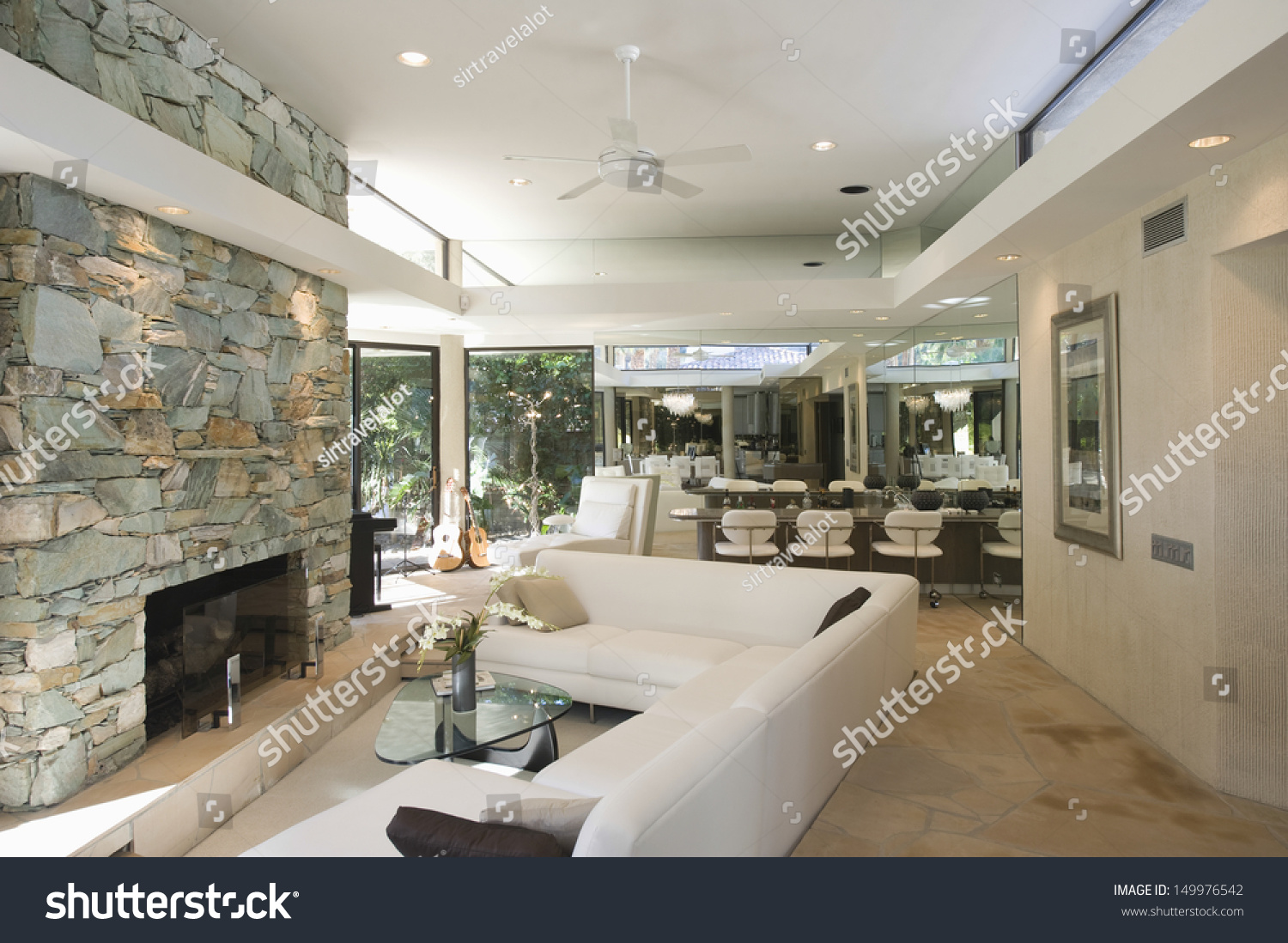 sunken seating area stone fireplace dining stock photo 149976542