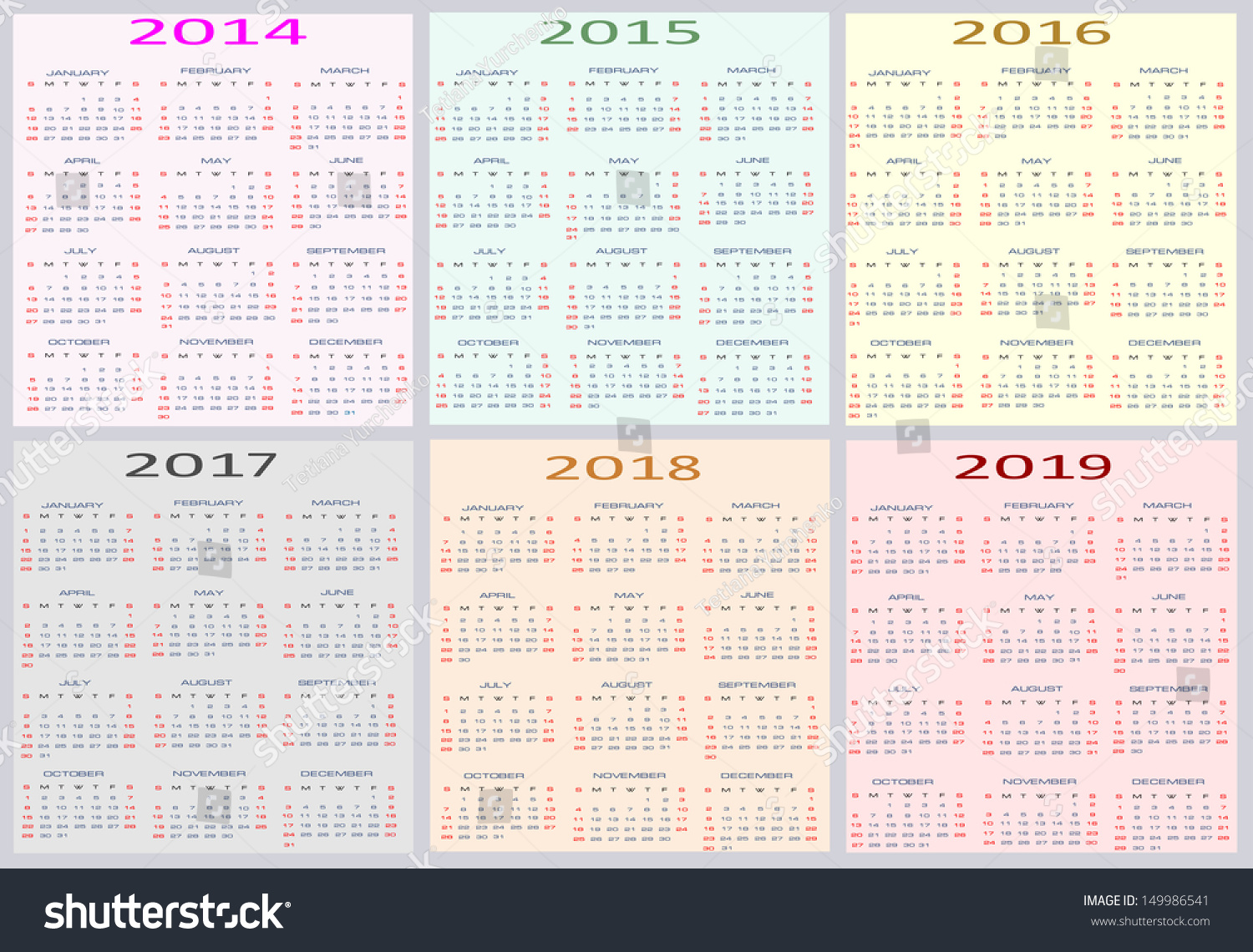 colorful calendar for years 2014