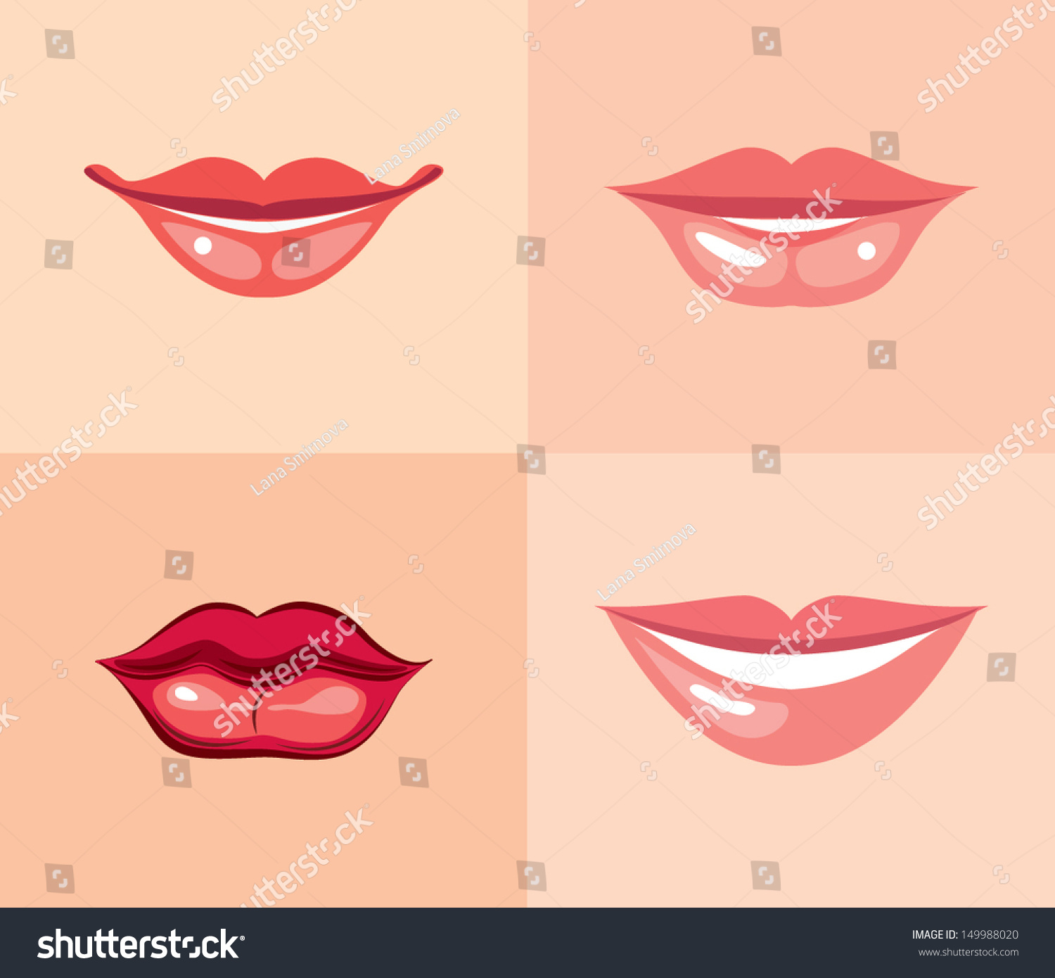 Different Makeups Of Kiss: Set Beautiful Female Lips Different Makeup Stock Vector