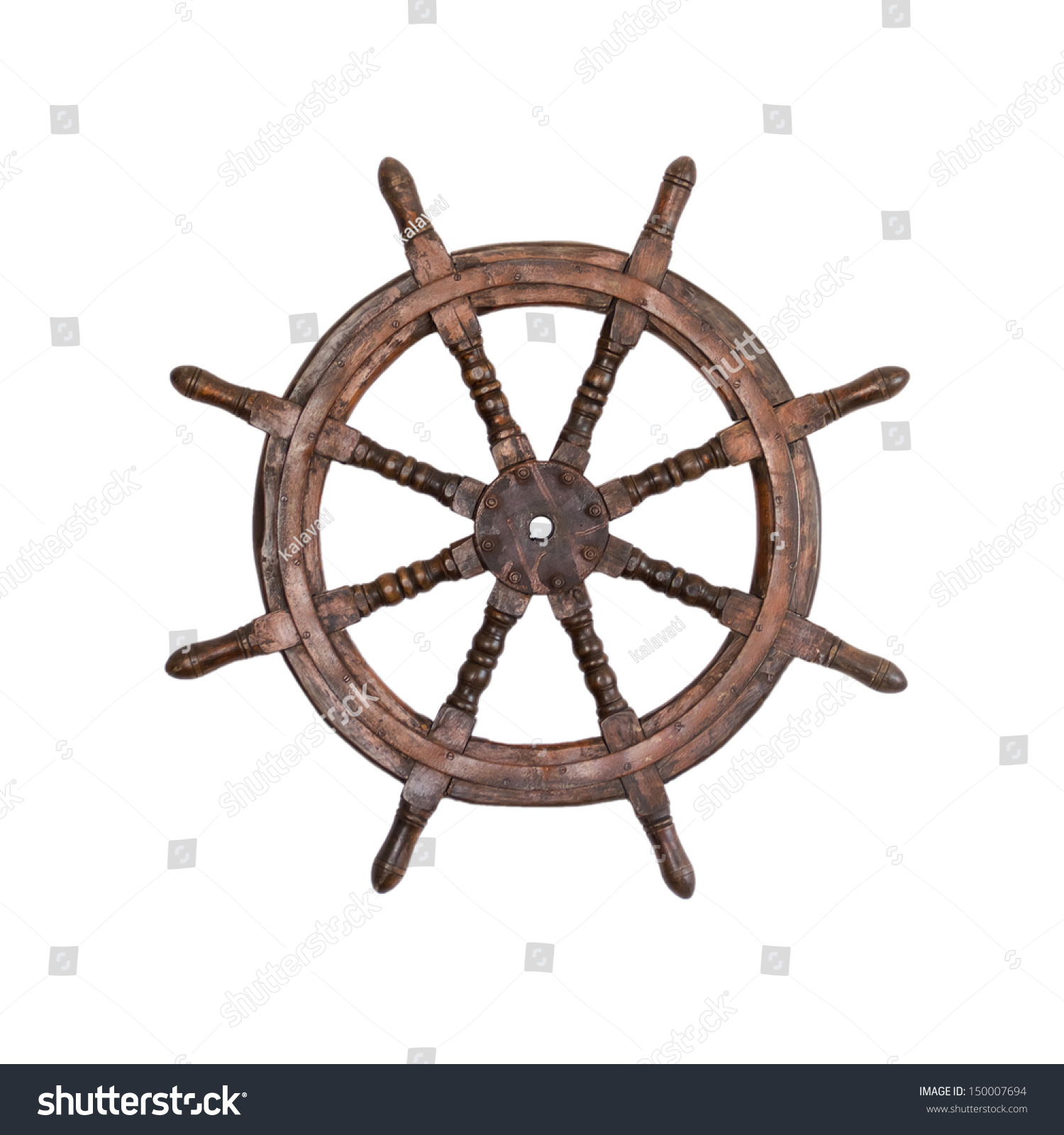 Old steering wheel isolated