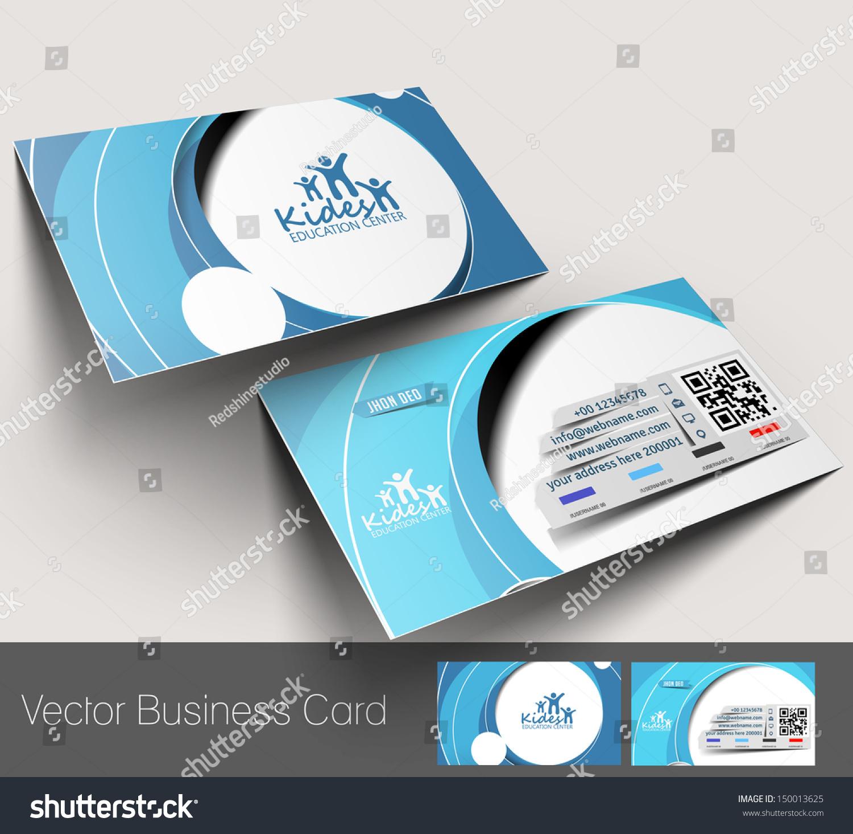 Vector Education Center Business Card Set Stock Vector