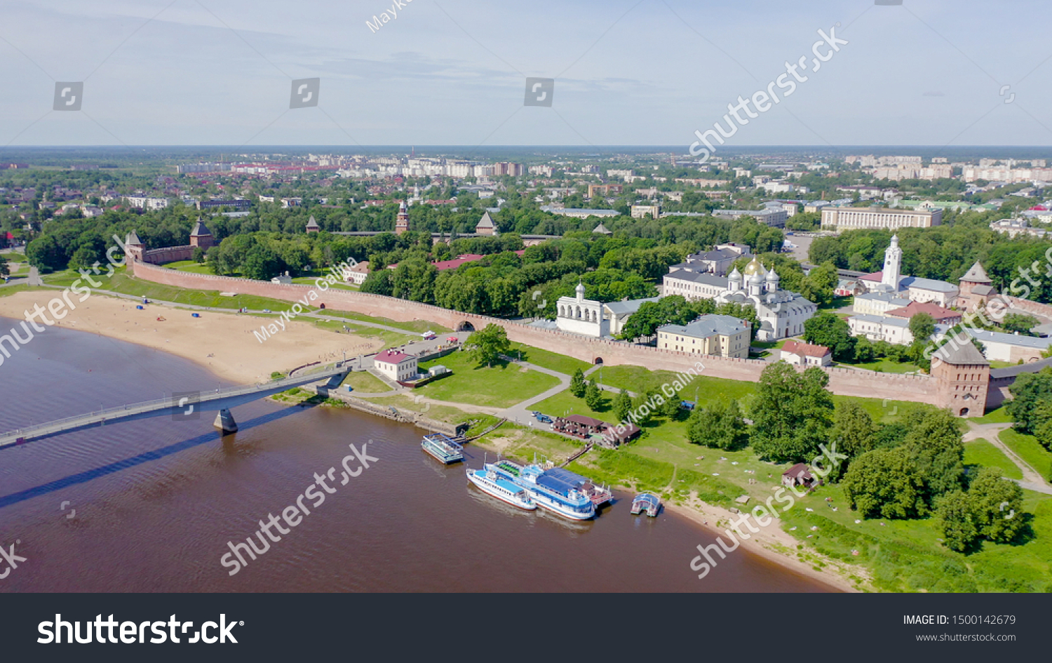 Veliky Novgorod, Russia. Novgorod Kremlin (Detinets), Volkhov River. Flight over the city, From Drone   #1500142679