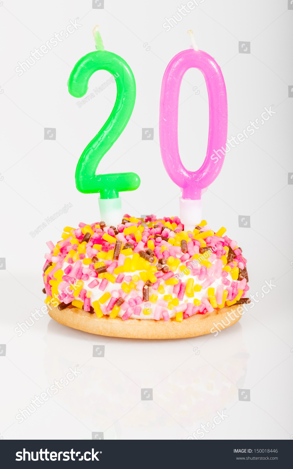 Colorful Birthday Cake Candle Age 20 Stock Photo Edit Now