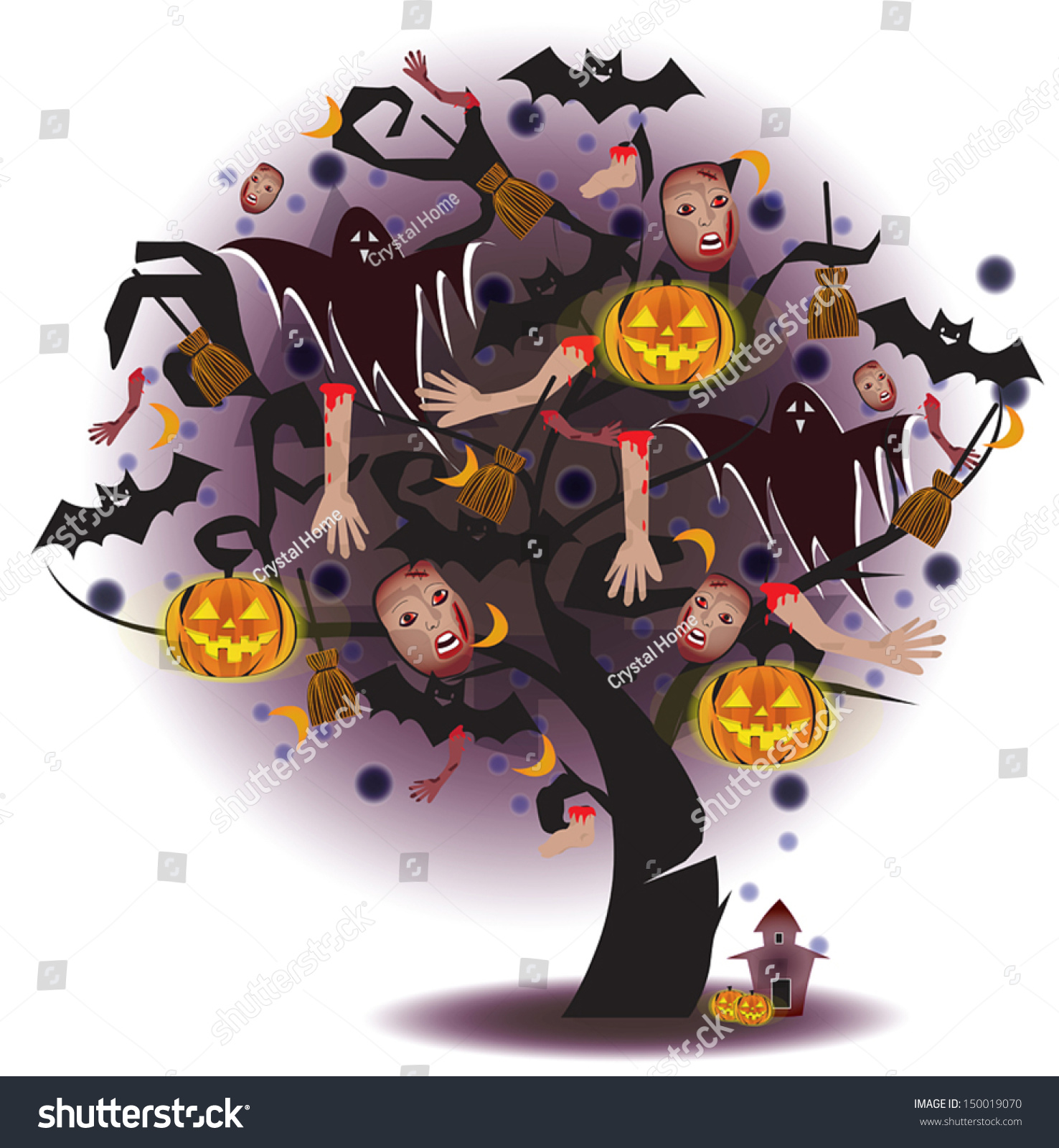 cartoon scary tree horror pumpkin ghost stock vector royalty free rh shutterstock com Scary Monster Clip Art Ghost Clip Art Black and White