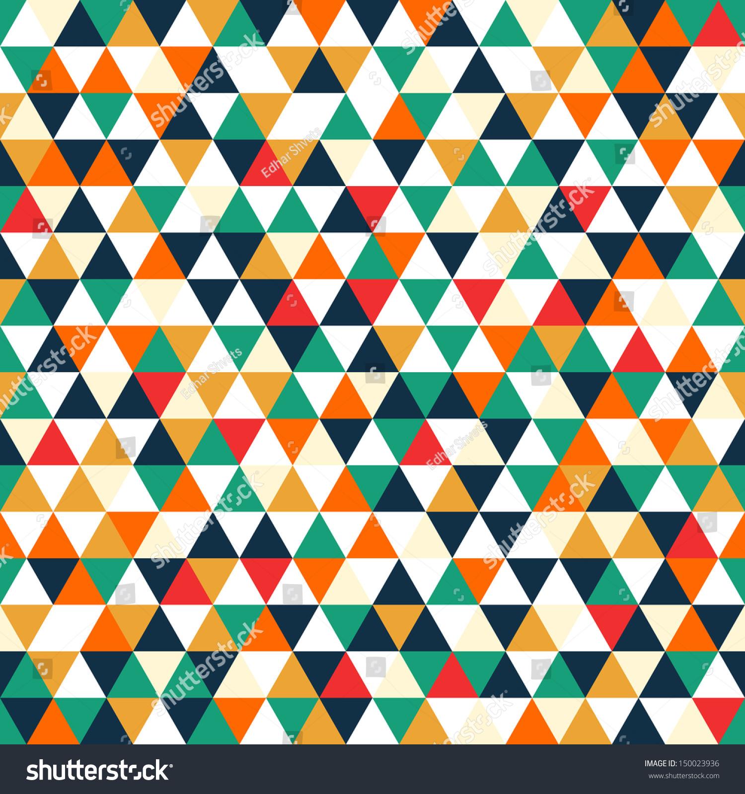 Retro Geometric Shapes. Colorful Mosaic Backdrop ...