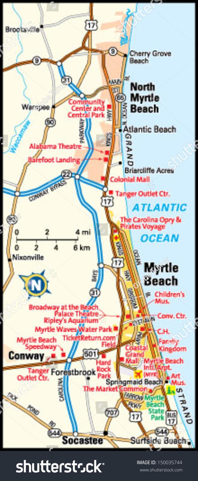 Httpsimageshutterstockcomzstockvectormyrt - Myrtle beach map
