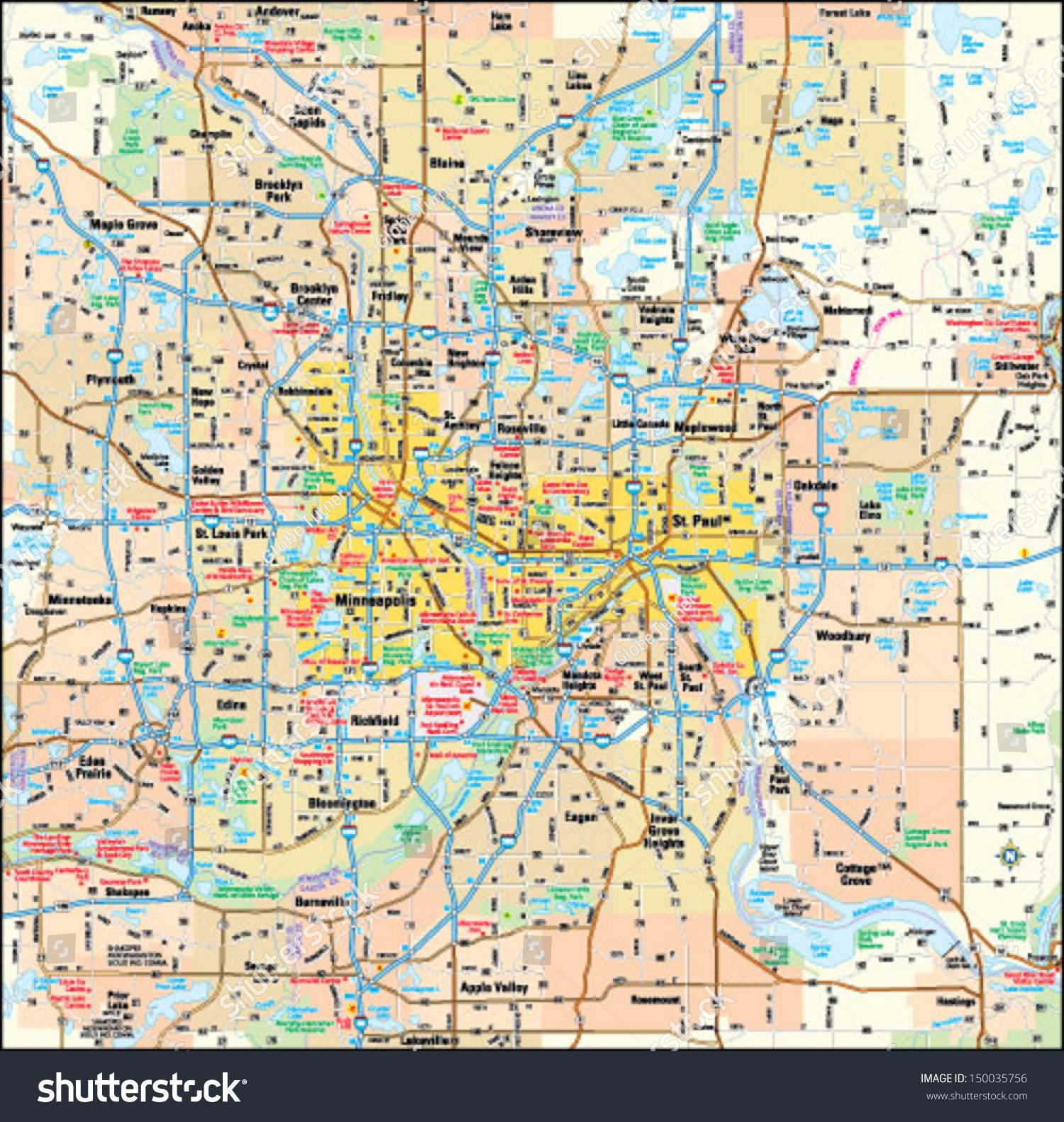 Minneapolis And St Paul Minnesota Area Map Stock Vector