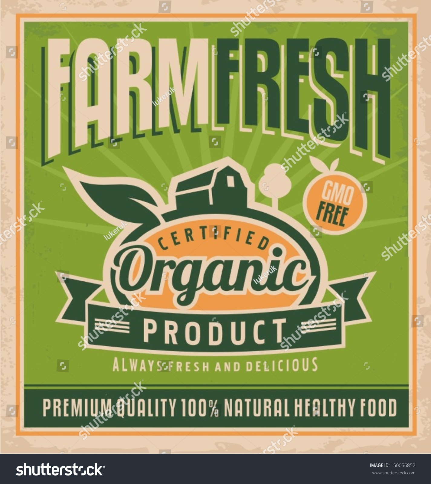 Retro farm fresh food concept. Vector design for gmo free organic products  on old paper