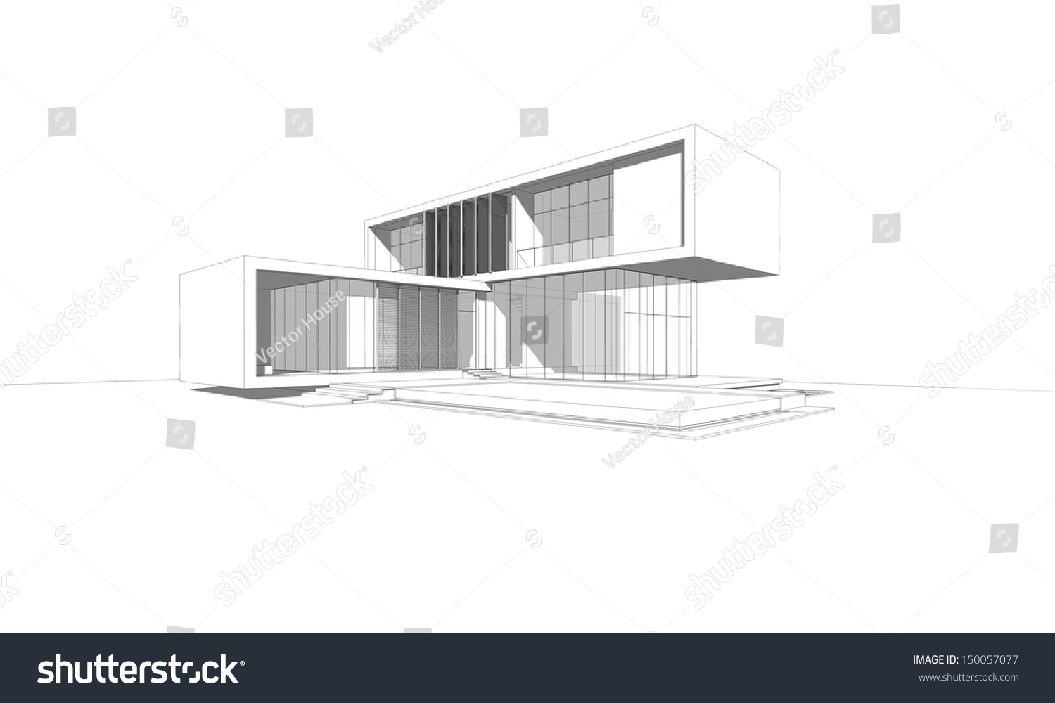 Wireframe Drawing Modern House Stock Illustration